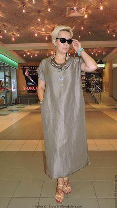 Купити Футболка -Бохо льон з шовком Какао - . Mature Fashion, Over 50 Womens Fashion, Plus Size Fashion, Boho Fashion, Fashion Dresses, Linen Dresses, Casual Dresses, Mode Chic, Africa Fashion