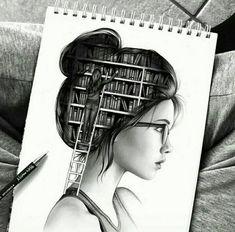 drawing, geek, girl, smart