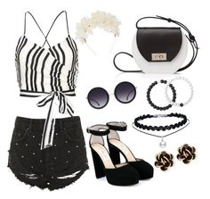 """black white"" by ria-werakari on Polyvore featuring Topshop, Alice + Olivia, Jimmy Choo, Joanna Maxham, Lizzie Fortunato, Chantecler and Lokai"