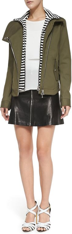 Veronica Beard Army Jacket with Striped Dickey, Double-Georgette Muscle Tee & Front-Zip Leather Miniskirt