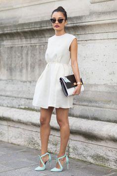 white dress + minty shoes