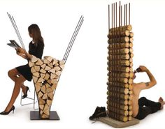 Firewood storage that doubles as furniture! (Why didn't I think of that!)
