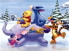 Winnie the Pooh, Eyore, Tigger, and Piglet
