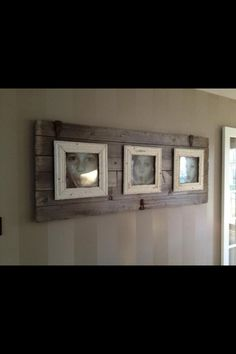 Barn board background for picture frames. – Diy Home Decor Wood Country Decor, Rustic Decor, Farmhouse Decor, Western Decor, Rustic Wood, Vintage Decor, Barn Board Projects, Barn Board Crafts, Pallet Projects