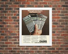 New to RetroPapers on Etsy: Geeky Wall Art   80s Tech Advertisement   Casio Scientific Calculators   Programmable Technology Ad   Math Wall Decor   Math Teacher Gift (7.99 USD)