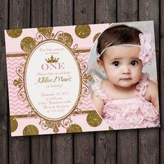 primer cumpleaños rosa y oro invitación por AmysDesignShoppe