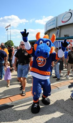 Sparky, mascot of the New York Islanders - so many hugs from good old sparky :)