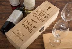 Personalised Luxury Wooden Wine Box - Keep Calm