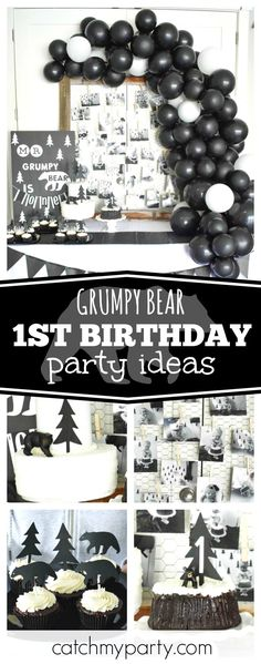 Celebrate a little boy's 1st birthday with an awesome black & white Grumpy Bear party. The cakes are so cool!! See more party ideas and share yours at CatchMyParty.com