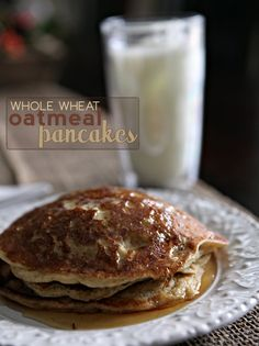 Whole Wheat Oatmeal Pancake Recipe!  This recipe uses greek yogurt & almond milk, which are my favorites! :D must try