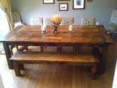 farmhouse table with bench perfect dinning room table for my medium sized family i love this bench and table