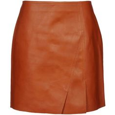 3.1 PHILLIP LIM Leather skirt (14 150 UAH) ❤ liked on Polyvore featuring skirts, bottoms, saia, leather zipper skirt, front slit skirt, 3.1 phillip lim, brown leather skirt and leather skirt