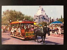 Vintage Main Street U. Postcard - Town Square - Horse Drawn Street Car - Matterhorn by VintageDisneyana on Etsy Disneyland Main Street, Vintage Disneyland, Anaheim California, Horse Drawn, All Pictures, Maine, Horses, Parks, Retro