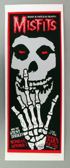 Original silkscreen concert poster for The Misfits The Ogden Theatre in Denver, CO in 2002. 10 x 26 inches. Signed and numbered out of 161 b...