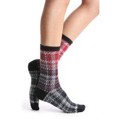 HUE Brushed Plaid Boot Socks (£7.94) ❤ liked on Polyvore featuring intimates, hosiery, socks, black multi, hue hosiery, acrylic crew socks, acrylic socks, tartan socks and crew socks