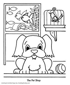 Kids Christmas Pet Store Coloring Page