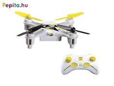 Lepd meg gyermeked ezzel a drónnal amivel megízlelheti a repülés élményét. Gyerkőcöd biztosan élvezni fogja, hogy pilótává válhat és szabadjára engedheti kreativitását szórakozás közben.    Jellemzői:  - A quadrocopter 6 tengelyes giroszkóppal van felszerelve, ami növeli a repülőgép stabilitását, a helikopter világítással is fel van szerelve  - A távirányító és a quadrocopter 2,4 GHz rádiófrekvencián kommunikál egymással  - A quadrocopter USB-ről tölthető Li-Poly akkumulátorral van… Vehicles, Usb, Vehicle, Tools