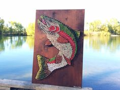 rainbow trout string art by string & nail. montana fly fishing art | www.etsy.com/shop/kimberlygeer