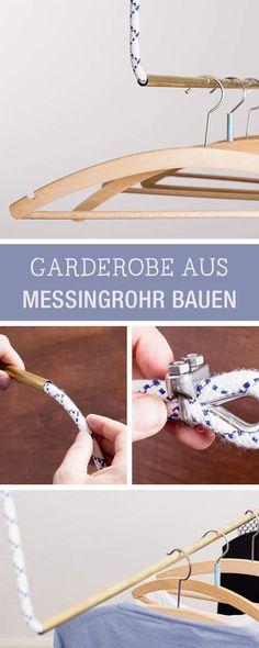 Kleiderständer aus Messingrohren und Seil bauen, Möbel DIY / diy furniture: how to build a wardrobe with pipes and rope via DaWanda.com