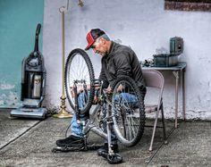 Sidewalk bicycle repair in Brooklyn | by Biketripper