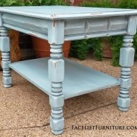 Gentil End Table In Distressed Robinu0027s Egg Blue With Black Glaze. From Facelift  Furnitureu0027s End Tables Collection.