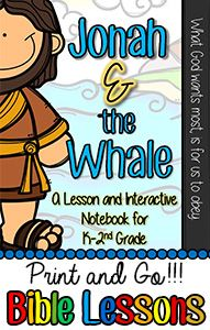 The Bible Lessons are great for Kindergarten, First Grade, and, Second Grade. They include lesson plans, whole group activities, object lessons, crafts, and bible games. Great resource for homeschooling moms, church volunteers, or Christian School Teachers. Jonah and the Whale Bible Lesson