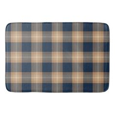 Classic Dark Blue Brown Lumberjack Plaid Pattern Bath Mat
