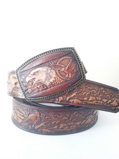Vintage Leather Tooled Eagle Belt With Leather Tooled Removable Buckle / Size 36-38 Inch Waist by JulesCristenVintage on Etsy