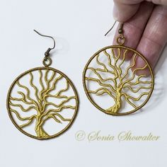 Tree of Life Earrings machine embroidery 7/2015 js