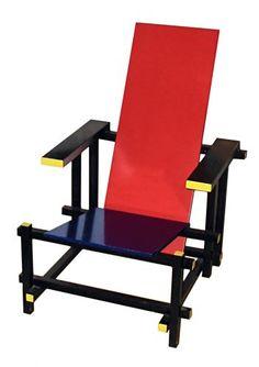 Criada por Gerrit Rietveld, a cadeira Vermelha e Azul foi criada em 1917 manifesta os princípios do neoplasticismo que pregava formas e cores básicas