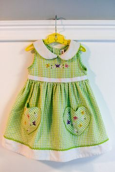 2T: Green Gingham Seersucker Dress with Eyelet Lace collar, Butterfly and Flower Embroidery www.etsy.com/shop/petitpoesy