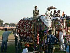 ...El Festival de Jaipur cuenta con un jurado que, al final, deciden cuál es el elefante ganador, no sólo por su atuendo, sino por su desempeño en distintas pruebas como carreras, peleas entre elefantes (son protegidos por una especie de armadura para que no se hagan daño)...