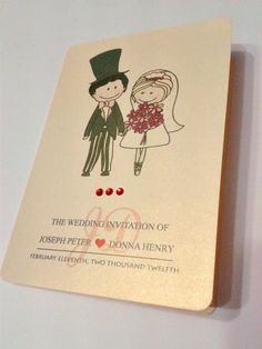 Cute Cartoon Couple Wedding Invitation Card