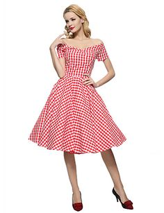 Maggie Tang Women's 50s VTG Retro Check Rockabilly Hepburn Pinup Cos Party Swing Dress 576 5187566 2016 – $32.99