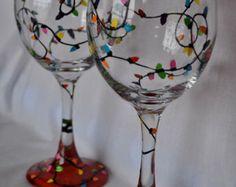 Hand Painted Christmas Lights Wine Glass Pair