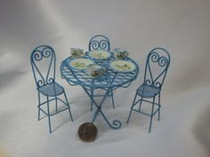 Turquoise Blue Hi-Top Table and 3 Chairs Miniatures for Fairy Garden or Dollhouse Fun by SuesKreashions on Etsy