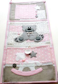 """Купить Кармашки для детского сада """"Медведица Маша"""", кармашки в детский сад - бледно-розовый, карманы"""