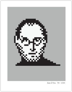 The late great Steve Jobs in pixels. brilliant likeness