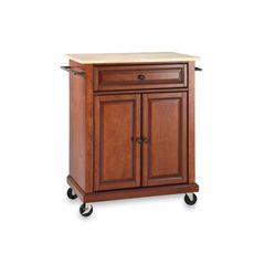 Crosley Natural Wood Top Portable Rolling Kitchen Cart/island