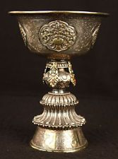ANTIQUE TIBET 18TH TIBETAN BUDDHIST YAK BUTTER LAMP SILVER GOLD CORAL TURQUOISE