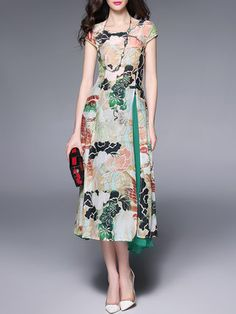 Green Cotton Floral Two Piece Short Sleeve Midi Dress