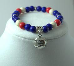 Chicago Cub Bracelet, Baseball Bracelet, Beaded Bracelet, Womens Bracelet, Baseball Jewelry, MLB Jewelry, Baseball Charm Bracelet, Custom by FlyingBirdJewelry on Etsy
