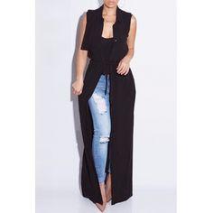 USD10.49Trendy Turndown Collar Sleeveless Drawstring Design Black Chiffon Long Coat