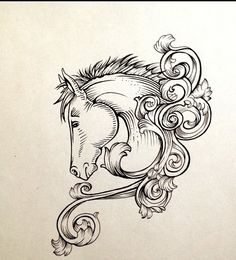 Lovely horse head with rich curles tattoo design Horse Drawings, Doodle Drawings, Drawing Sketches, Horse Head Drawing, Horse Tattoo Design, Tattoo Designs, Tattoos Skull, Body Art Tattoos, Dibujos Tattoo