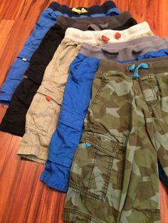 Lot Cargo Shorts Elastic Waistband Camo Blue Khaki Black Boys Med 8/10 Circo  #Circo #Everyday
