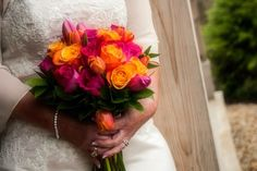 Bright pink and orange rose bouquet made by countryside florist!!