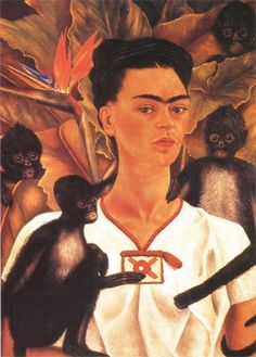 artist-frida: Self Portrait with Monkeys via Frida KahloSize:...
