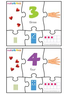 Enjoy a leisurely number puzzle time, and master a variety of fun ways to represent Numbers 3 and 4 puzzle game for kids, Printable number matching puzzles. Number Puzzle Games, Puzzle Games For Kids, Number Puzzles, Children Activities, Kindergarten Math Activities, Free Preschool, Free Math, Maths, Printable Puzzles For Kids