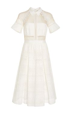 Lace-Paneled Cotton Dress by SELF PORTRAIT Now Available on Moda Operandi