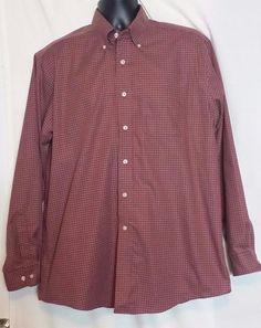L L Bean Multi color Checked Cotton Button Front Long Sleeve Shirt Size L #LLBean